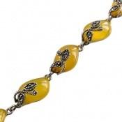 دستبند مارکازیت و عقیق زرد طرح مجلل زنانه