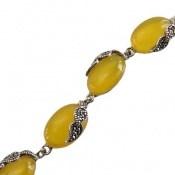 دستبند مارکازیت و عقیق زرد طرح پرنسس زنانه
