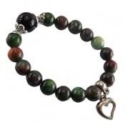دستبند جاسپر خوش رنگ آویز قلب زنانه