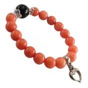 دستبند جید نارنجی درشت آویز قلب زنانه کد 18208