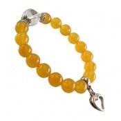 دستبند جید زرد آویز قلب زنانه