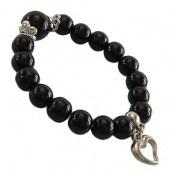 دستبند عقیق سیاه آویز قلب زنانه
