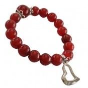 دستبند عقیق قرمز آویز قلب زنانه