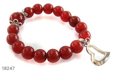 دستبند عقیق قرمز آویز قلب زنانه - عکس 1