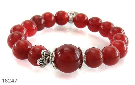 دستبند عقیق قرمز آویز قلب زنانه - تصویر 2