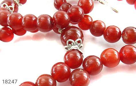 دستبند عقیق قرمز آویز قلب زنانه - تصویر 4