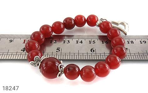 دستبند عقیق قرمز آویز قلب زنانه - عکس 5