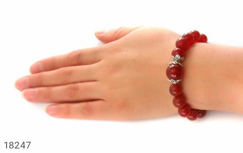 دستبند عقیق قرمز آویز قلب زنانه - تصویر 6