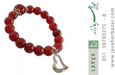 دستبند عقیق قرمز آویز قلب زنانه - کد 18247