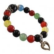 دستبند عقیق ام البنین رنگارنگ آویز قلب یا دلفین زنانه