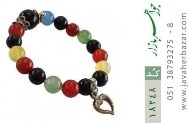دستبند عقیق ام البنین رنگارنگ آویز قلب یا دلفین زنانه - کد 18248