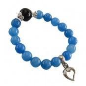 دستبند جید آبی آویز قلب زنانه کد 18249