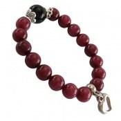 دستبند جید خوش رنگ با آویز قلب زنانه
