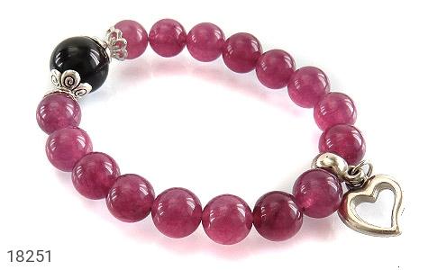 دستبند جید بنفش آویز قلب زنانه - عکس 1