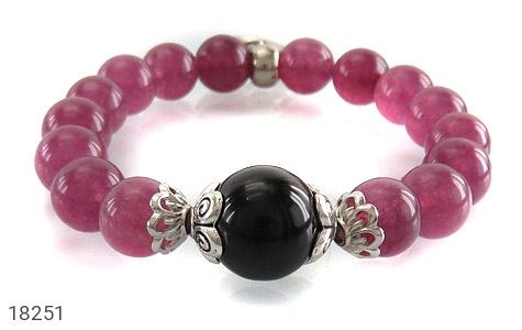 دستبند جید بنفش آویز قلب زنانه - تصویر 2