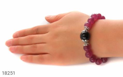 دستبند جید بنفش آویز قلب زنانه - عکس 5