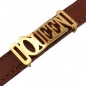 دستبند چرم طبیعی قهوه ای طرح QUEEN