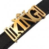 دستبند چرم طبیعی مشکی طرح KING