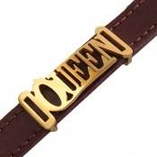 دستبند چرم طبیعی زرشکی طرح QUEEN زنانه