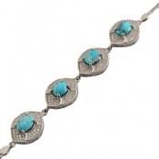 دستبند فیروزه نیشابوری طرح پرنسس زنانه