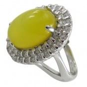 انگشتر عقیق زرد درشت فری سایز طرح اشرافی زنانه
