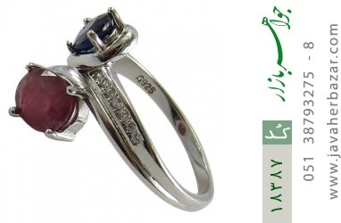 انگشتر یاقوت سرخ و کبود طرح هانیه زنانه - کد 18387