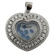مدال نقره نگین متحرک طرح قلب زنانه