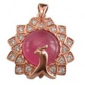 مدال چشم گربه طرح طاووس زنانه