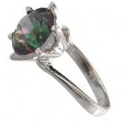 انگشتر توپاز هفت رنگ الماس نشان زنانه