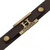 دستبند چرم طبیعی قهوه ای طرح HERMES مردانه