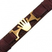 دستبند چرم طبیعی قهوه ای طرح تاج