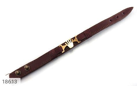 دستبند چرم طبیعی قهوه ای طرح تاج - عکس 1