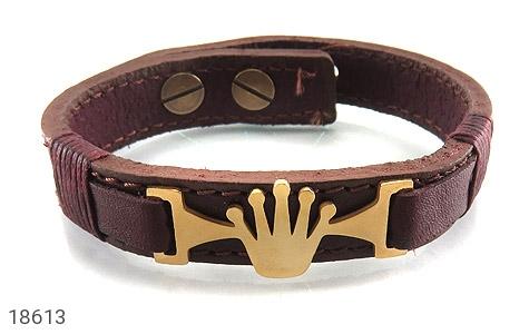 دستبند چرم طبیعی قهوه ای طرح تاج - تصویر 2