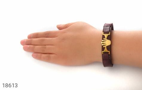 دستبند چرم طبیعی قهوه ای طرح تاج - عکس 5