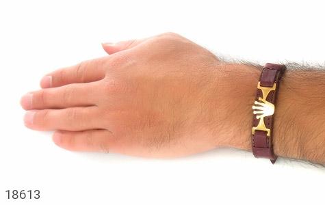 دستبند چرم طبیعی قهوه ای طرح تاج - تصویر 6