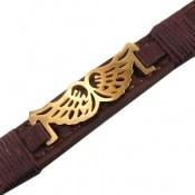 دستبند چرم طبیعی قهو ای طرح شاهین