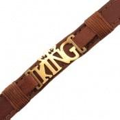 دستبند چرم طبیعی قهوه ای طرح KING دوربند مردانه