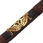 دستبند چرم طبیعی قهوه ای تیره طرح شاهین