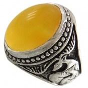 انگشتر عقیق زرد شرف الشمس طرح گوزن درشت مردانه