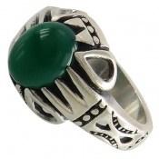 انگشتر عقیق سبز طرح آریا مردانه