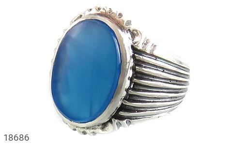 انگشتر عقیق آبی درشت طرح رحمان مردانه - عکس 1