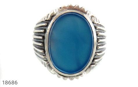 انگشتر عقیق آبی درشت طرح رحمان مردانه - تصویر 2