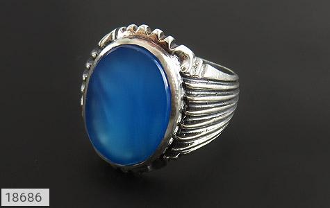 انگشتر عقیق آبی درشت طرح رحمان مردانه - عکس 5
