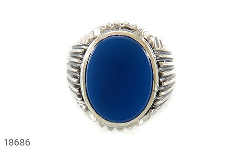 انگشتر عقیق آبی درشت طرح رحمان مردانه - تصویر 8