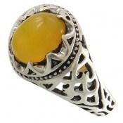 انگشتر عقیق زرد شرف الشمس طرح رحمان