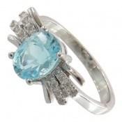 انگشتر توپاز آبی طرح هدیه زنانه