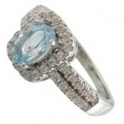 انگشتر توپاز آبی طرح بارانا زنانه