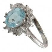 انگشتر توپاز آبی طرح مهگل زنانه