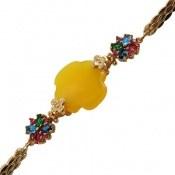 دستبند عقیق زرد شرف الشمس طرح باشکوه و مجلسی زنانه