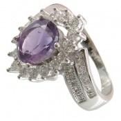 انگشتر آمتیست طرح جواهری زنانه